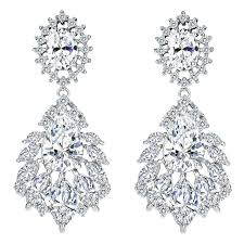 elegant chandelier cubic zirconia long big crystal bridal drop earring for wedding jewelry white