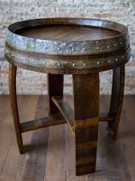 wood barrel furniture. Red Mahagony Stained Wine Barrel End Table With Cross Braces Wood Furniture B