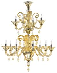 treviso 12 light 2 tier cascade amber murano glass chandelier