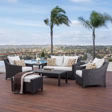 outdoor moroccan furniture. RST Brands Deco 6-Piece Wicker Frame Patio Conversation Set With Moroccan Cream Sunbrella Cushions Outdoor Furniture