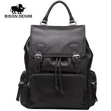 whole bison denim backpacks men s genuine leather bag large school back bag men luxury leather backpack 14 15 laptop n2535
