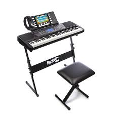 com rockjam 61 key electronic keyboard superkit with stand stool headphones power supply al instruments