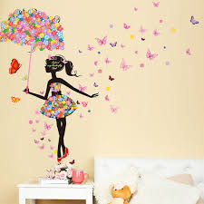 aliexpress com buy flower umbrella girl wall sticker creative