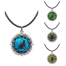 quality and safe wiccan pentagram necklace black cat pendant pentacle choker blue star animal collar neckless