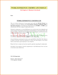14 Job Experience Letter Sample From Employer Formal Buisness Letter
