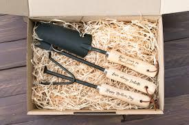 personalised gardening tools set of 3 black steel