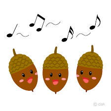可愛いどんぐりの合唱の無料イラスト素材 イラストイメージ