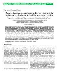 Career Guidance Articles Pdf Access To Guidance And Counseling Services And Its