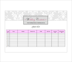 Wedding Guest List Template – 10+ Free Sample, Example, Format ...