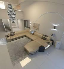 Sofa Couch Wohnlandschaft Prato Xxl Mit Licht Und Ottomane