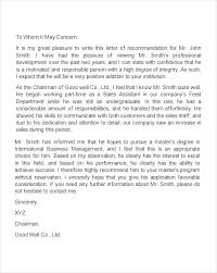 Recommendation Letter For Employment Sample Free Recommendation Letter From Manager Template Employment