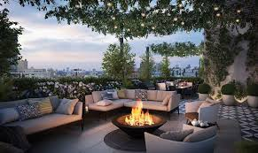 rooftop furniture. Beautiful Rooftop Patio Area With Landscaped Plants, Outdoor Furniture, Fire Pit And City Views Furniture