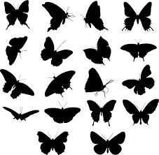 フリーイラスト 18種類の蝶のシルエットのセットでアハ体験 Gahag