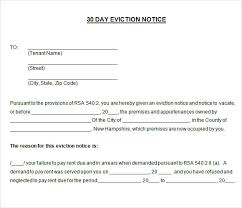 30 day eviction notice template thirty day notice letter
