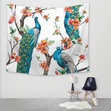 12 designs flower peacock tapestry feather wall hanging decoration nature tree bird tapetes new table cloth tapestry for wall tapestry for wall decoration