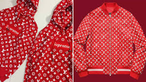 the last garments that deserve to be mentioned are the denim ones jackets and pants are printed with the vuitton monogram attached to the supreme logo