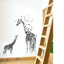 High Quality Giraffe Wallpaper For Bedrooms Two Giraffe Butterfly Vinyl Wall Stickers  For Kids Rooms Home Decor Art