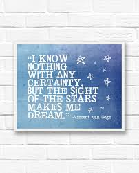 Vincent Van Gogh Quotes Extraordinary Star Print Van Gogh Quote Inspirational Quotes Blue Wall Etsy