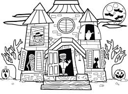 Small Picture Halloween House Coloring Pages Printable For Preschoolers