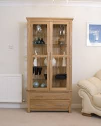 Living Room Display Cabinets Eton Solid Oak Living Room Furniture Glazed Display Cabinet