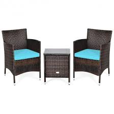 3 Pcs Patio Wicker Rattan Furniture Set Outdoor Rattan Conversation Set With Coffee Table Chairs Thick Cushions For Patio Garden Lawn Backyard Pool