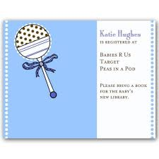 Baby Shower Rattle Blue Registry Cards  PaperStyleRegistry Baby Shower