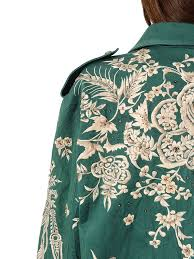 roberto cavalli embellished cotton gabardine jacket green women clothing casual jackets roberto cavalli paradiso gift