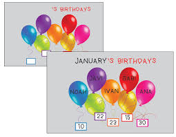 Printable Birthday Chart For Classroom Fellowes