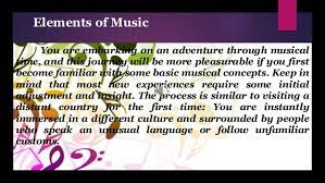 Music created through mathematical methods composers came up with ways to serialize other musical elements such as note length, silence, texture, and volume composer was in control of every aspect of the piece challenge was to write good music so it sounds logical in some way difficult for the average listener to understand due Elements Of Music Ppt