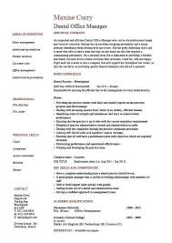 Dental Office Resume Extraordinary Dental Office Manager Resume Example Sample Template Dentist