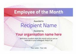 Employee Of The Month Certificate Templates Employee Of The Month Certificate Free Well Designed Templates