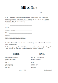 As Is Document For Car Sale Free Bill Of Sale Form Template General Bill Of Sale Forms