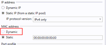 Dynamic MAC address grayed out when set to static IP