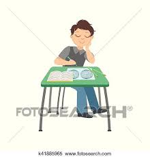 student sitting at desk drawing. Modren Desk Schoolboy Sitting Behind The Desk In School Class Drawing Geographic Map  Illustration Part Of Scholars Studying Vector Collection Happy Teenage Student  On At