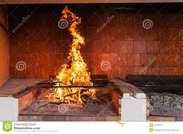 Kitchen Fireplace For Cooking Blazing Fireplace Royalty Free Stock Photography Image 33594277
