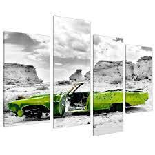 large abstract lime green canvas wall