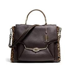 The Madison Sadie Flap Satchel In Mixed Haircalf from Coach Cheap Coach  Purse Handbags