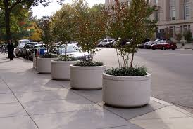 large concrete planter bo planters molds white oval at street for trees blue pot