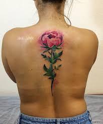 красивый цветок пиона тату на спине у девушки добавлено Slava Jangle