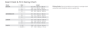Chest Protector Size Chart 13 Studious Bauer Runner Size Chart
