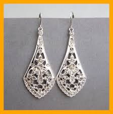 amazing art deco style silver filigree bridal earrings chandelier image for vintage wedding trend and