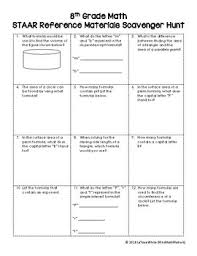 Staar Reference Chart Scavenger Hunt 8th Grade Test Prep Activity
