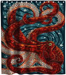 Lifeasy Ocean Kraken Red Octopus Shower Curtain ... - Amazon.com