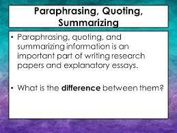paraphrasing quoting summarizing ppt video online  paraphrasing quoting summarizing