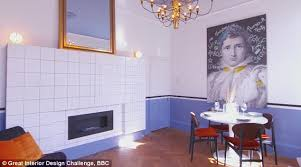 The living room included a dinning area and a large print on one of the  walls