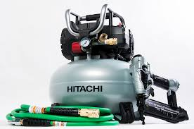 hitachi pancake air compressor. hitachi power tools announces its new finish combo kit, the knt50ab featuring a 6-gallon 150 max psi pancake air compressor (model ec710s) and hitachi\u0027s h