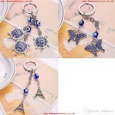 beautiful blue turtles eiffel tower keychains car keyring turkey blue eye bead keyring for women purse bag pendant accessories jewelry