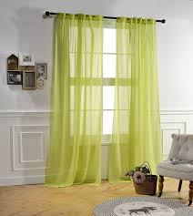 mysky home back tab and rod pocket window crushed voile sheer curtains light green