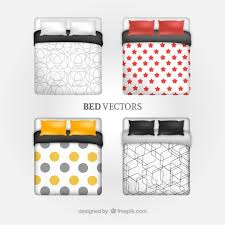 double bed top view. Bed Collection Free Vector Double Top View