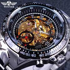 <b>Winner</b> Golden watches Stainless Steel <b>Mens</b> Skeleton Watch ...